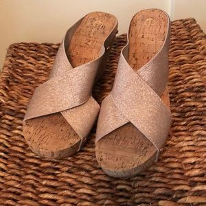 Cato amazing gold metallic cork wedge sandals